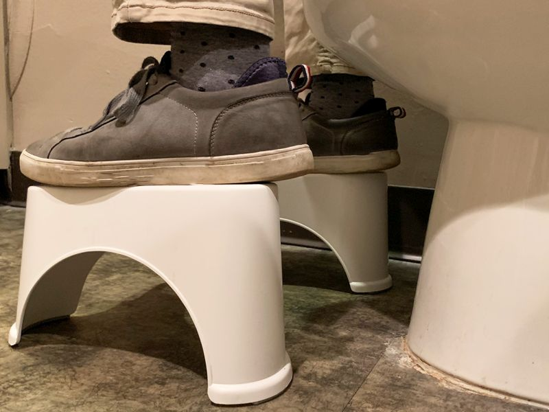 News Picture: Foot Stools Move Human Stool Along