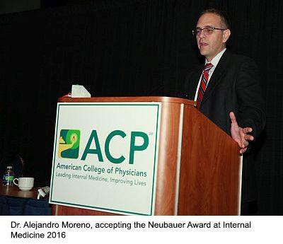 Dr Alejandro Moreno, accepting the Neubauer Award at Internal Medicine 2016